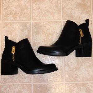 Zara Leather Suede Gold Zipper Ankle Boots 8 38